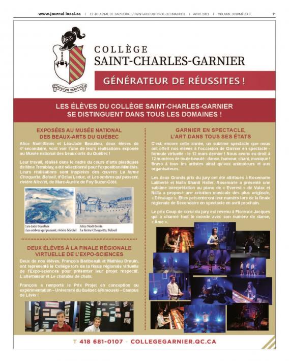 Le journal de Cap-Rouge – Saint-Augustin-de-Desmaures / Avril 2021