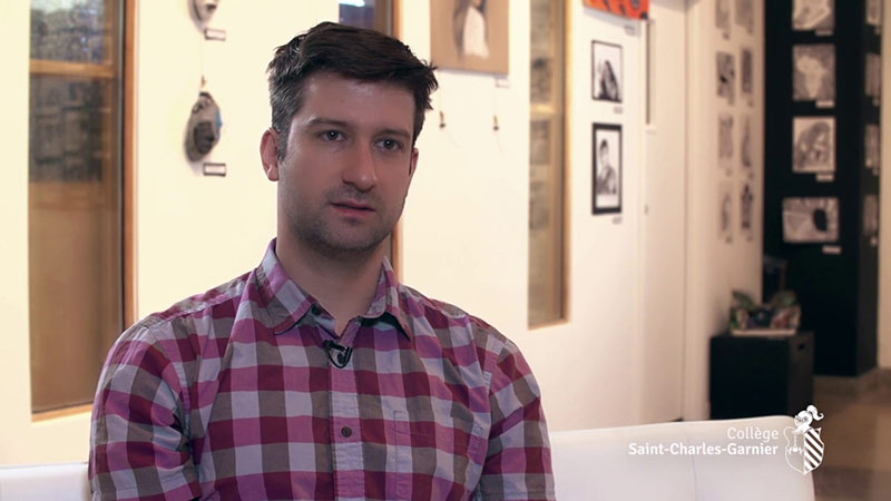 Mathieu Tessier, ancien élève du Collège, aujourd'hui enseignant au Collège